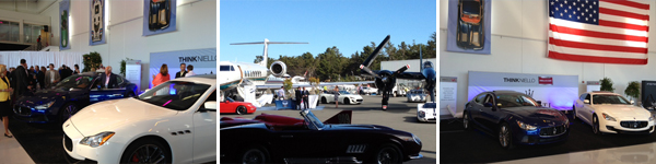 Vehicles on display at the Monterey Jet Center